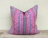 """Vintage Cotton Tribal Hand Print Patch Work Pillow Case 20"""" x 20"""" Pieces Of Retro Tribal Costume"""