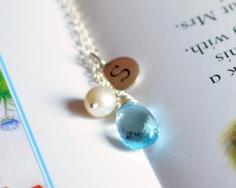 Real Blue Topaz Necklace, Sterling Silver, Personalized Initial, Genuine December Birthstone, Gemstone Jewelry, Freshwater Pearl