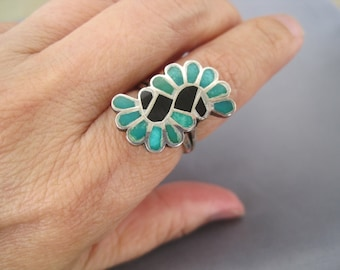 Vintage Sterling Turquoise Onyx S Style Zuni Ring