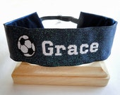 Soccer SPARKLE Headband Adjustable No Slip Hair Bands PERSONALIZED you Choose Prints Many Sports and Patterns Available