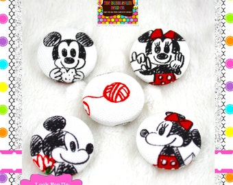 "KAWAII 7/8"" Covered Buttons Japanese Fabric Covered Buttons Qty 5 Mickey Minnie Handmade Buttons Fabric Covered Buttons 7/8"" Shank Buttons"