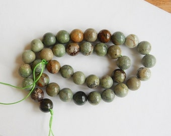 10mm  African  Green opal round beads,   FULL STRAND
