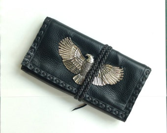Black Leather Eagle Clutch/Wallet