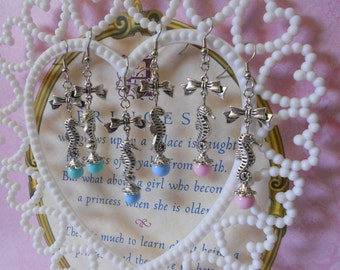 Sailor lolita seahorse earrings with bows