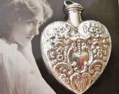 SALE Lovely vintage Victorian revival sterling silver repousse heart chatelaine bottle pendant