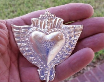 Large Sacred Heart With Wings Cross Milagros Ex voto Nicho Style Silver Tone