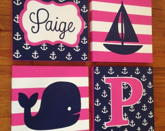 large nursery painitng- 4 canvas piece- custom sizes and colors available-pink navy hamptons whale nautical