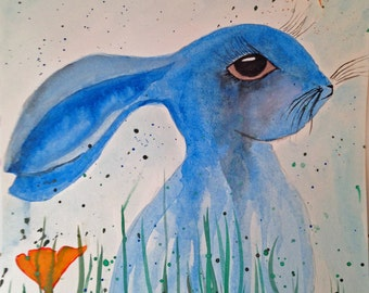 Original Watercolor Rabbit with Ears Down and a Butterfly