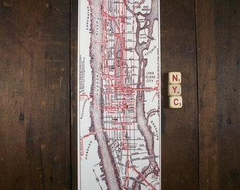 New York City Manhattan Vintage Road Map Central Park Hudson and East River Unique Metal Wall Map
