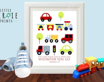 Transportation Wall art INSTANT DOWNLOAD for Nursery, Kids Room, Boy Room with Bible Verse (Optional) Scripture  with Cars Trucks and Train