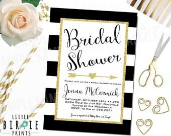 GOLD BRIDAL SHOWER Invitation, Arrow bridal shower invitation, Black and White Stripe bridal shower invitation Glitter Sparkle Bridal shower