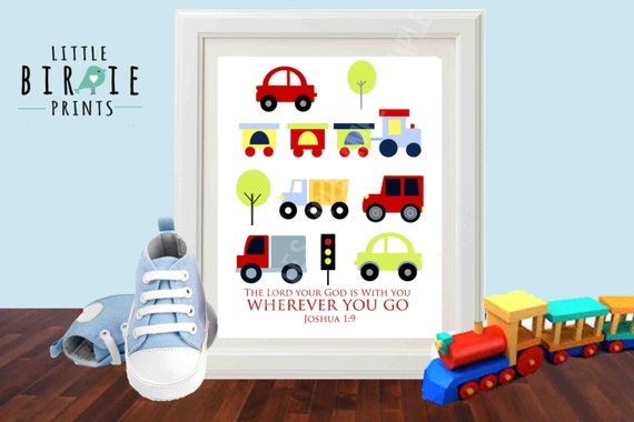 Transportation wall art instant download for nursery kids for Bible verses for kids rooms