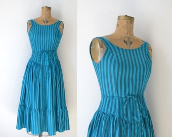 1980s Stiped Cotton Sundress / Corset Backless Dress