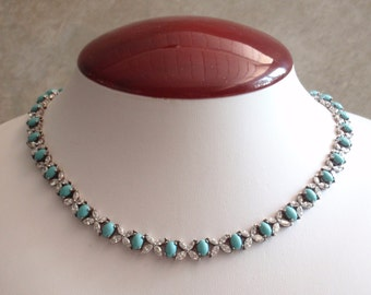 Turquoise Sterling Necklace Marquise Crystal CZs Cubic Zirconia Vintage AT0279