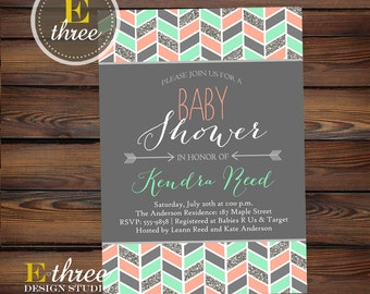 Aztec Girl's Baby Shower Invitation - Tribal Shower Invite - Silver glitter, coral, mint - Arrows #1014