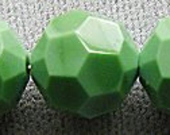 Vintage Swarovski Crystal Beads, #5000, 12mm, Opaque Green, NOS, Factory Packaging, 48 pieces