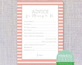 Print Your Own Mommy Advice Cards - Stripe - Pink & Grey - Baby Book Keepsake - Baby Shower Game - PDF - Instant Download