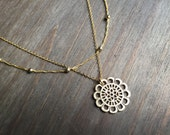 Filigree and Satellite Chain Gold Necklace. Adjustable 16-18 inches