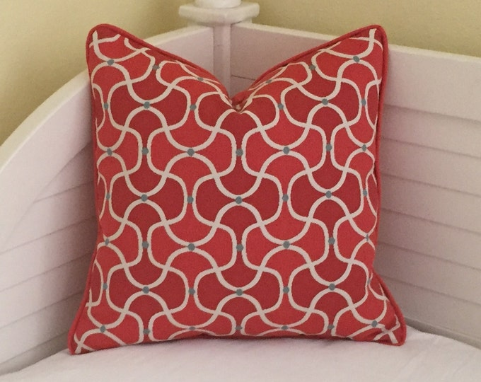 HOLIDAY SALE and FREE Shipping, Duralee Bella Dura Coral Quatrefoil Designer Pillow Cover with Piping - 18x18