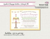 Bridal Shower Invitation - Baby Shower Invitation - Cupcakes and Champagne - Printable Bridal Shower - Printable Cupcake Invitation