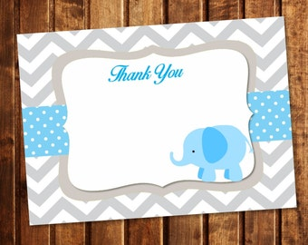 Blue Elephant Chevron Blank Thank You Note - INSTANT DOWNLOAD - You Print