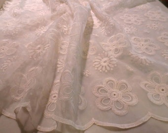 Ivory Daisy Design Embroidered Organza Fabric--One Yard