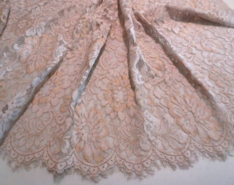 Beige with Gold Floral Design Leavers Chantilly Lace Fabric--One Yard