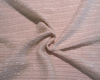 REMNANT--Off White with Lurex Cotton Blend Tweed Fabric--2 Yards
