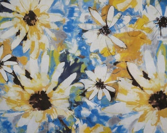 Blue and Yellow Large Daisy Print Pore Cotton Voile Fabric--One Yard