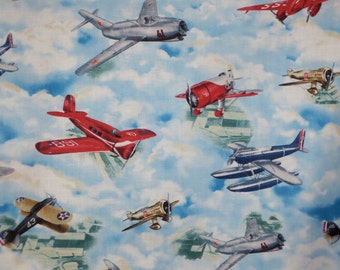 Colorful Vintage Airplane Print Pure Cotton Fabric--One Yard