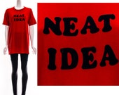 Vintage 70s Red T-Shirt Paper Thin Neat Idea Black Felted Letters Soft Sheer Oversized Long Top Medium Large