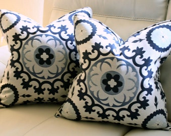 Blue Medallion Pillow Cover, Cushion, Toss Pillow 20x20