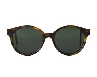 vintage tortoise round sunglasses - oversized sun glasses for men and women - original 80s - hipster - jade matte sting