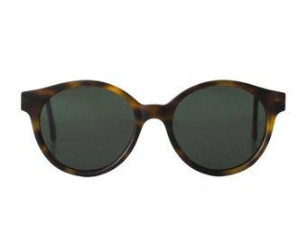 Jade Brown Tortoise Matte Vintage Sunglasses - Sting - Round Blogger style / Hipster