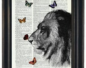 BOGO Sale Lion With Butteflies Art Print with A HHP Original with HHP Signature Butterflies Wall Decor Dictionary Print Dictionary Prints
