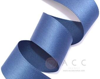 Blue Jean Single Faced Satin Ribbon - 10mm(3/8''), 15mm(5/8''), 25mm(1''), and 40mm(1 1/2'') - Semi Gloss Flat Satin