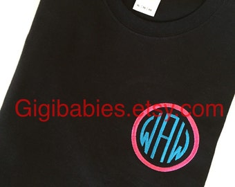 Black tshirt with circle monogram by gigibabies