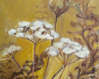 Forest meadow flowers Dills- oil painting on canvas- 18x24 inches