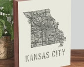 Kansas City Art - Missouri Art - Kansas City Map - Missouri Map - Wood Block Art Print