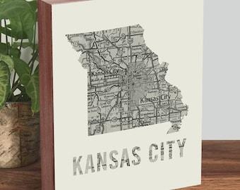 Kansas City Art - Missouri Art - Kansas City Map - Missouri Map - Wood Block Art Print