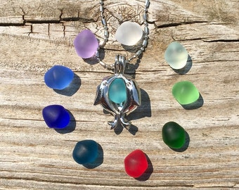 Sea Glass Set Colorful Dolphin Locket by Wave of LIfe