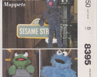 Grover Plush Pattern Oscar the Grouch and Cookie Monster Sesame Street Muppets Uncut 1983 McCalls 8395