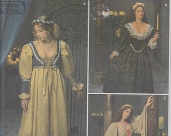 Medieval Dress Pattern Renaissance Period Gown Snood Veil More Misses Size 16 18 20 Uncut Simplicity 8192