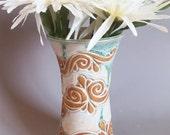 Tall White/Green Hand Carved Tumbler/Vase