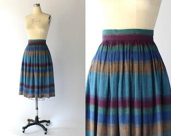 1980s Striped Cotton Skirt with Pockets // High Waist Knee Length Blue & Purple Skirt // XS - Small