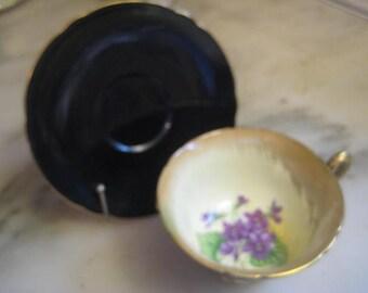 Vintage Tea Cup Set, 1960s Fine Bone China, Glossy Black Exterior, Purple Violet Flower Interior, Gilt Trim, Shelley, England, 1 set