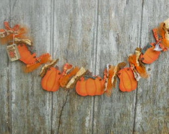 Fall Garland, Primitive Pumpkin, Made To Order