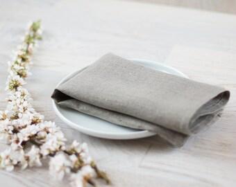 Reception Decor Cloth Napkins Set 6 Grey Classical Napkins Cloth Natural Linen Napkins Wedding Linen Eco Friendly Napkins