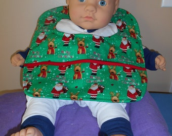 Santa and Reindeer Baby Bib