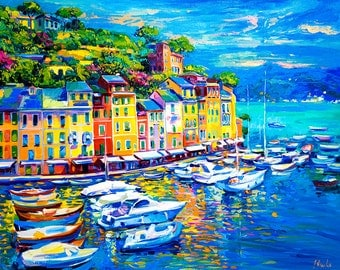 Colors Portofino Art, Original Painting Oil Canvas Seascape Painting Italian Famous Place Gift for Wedding Gift for Her Gift for Her